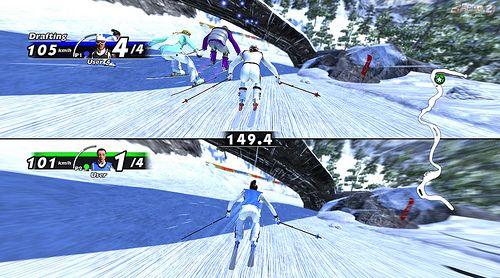 Sfida tra due giocatori nello sci.