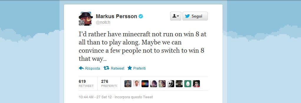 Immagine Il creatore di Minecraft a muso duro contro Windows 8