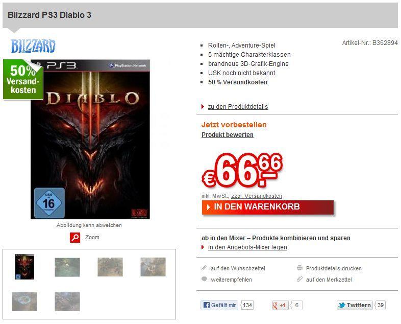 Immagine Diablo III in versione console inserito nei listini di alcuni negozi