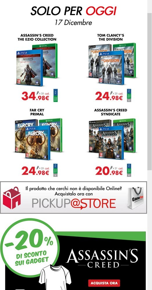Calendario Dellavvento Gamestop.Offerte Gamestop Calendario Dell Avvento Del 17 Dicembre